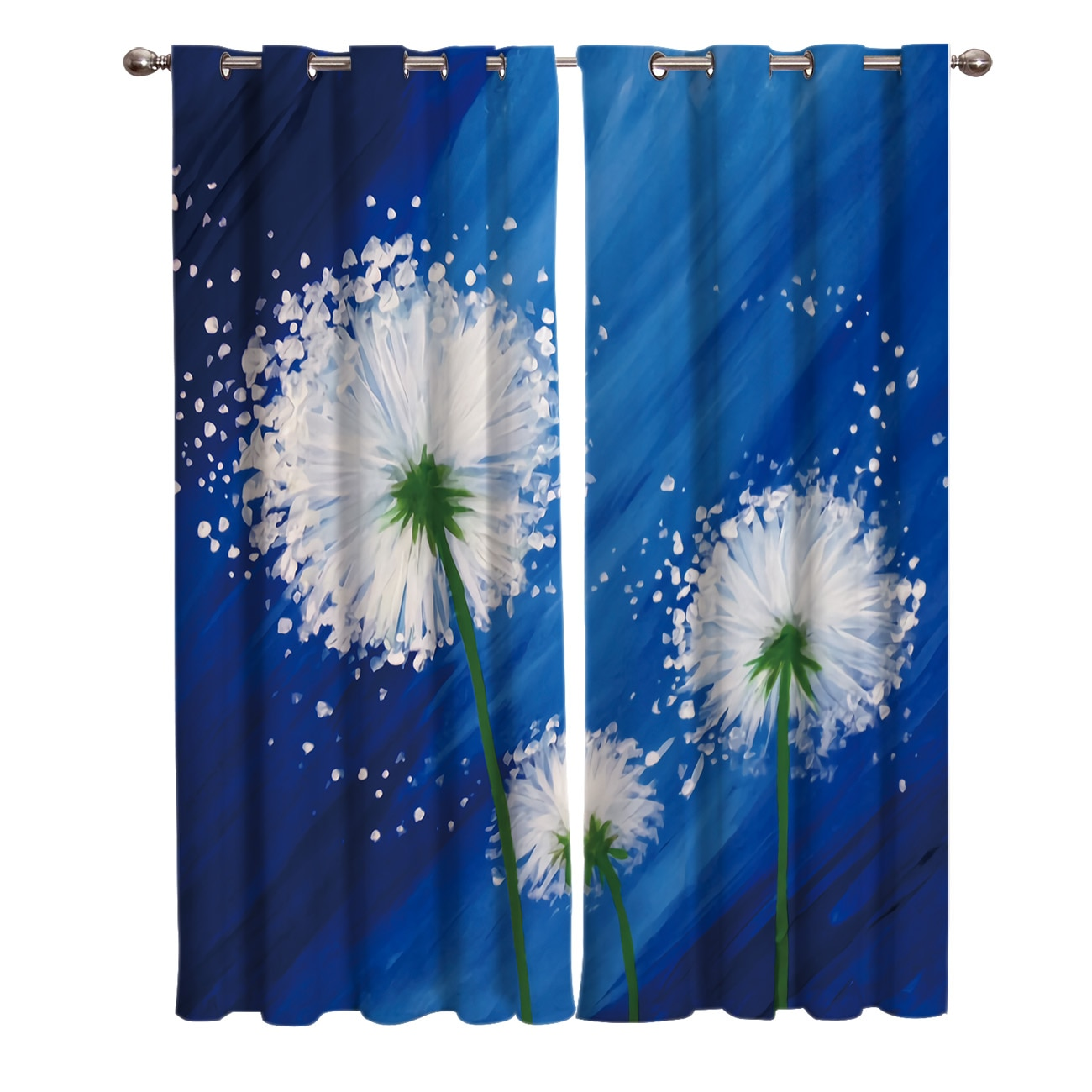 Pintura al óleo estilo fondo azul abstracto diente de león habitación cortinas gran ventana sala de estar cocina exterior interior