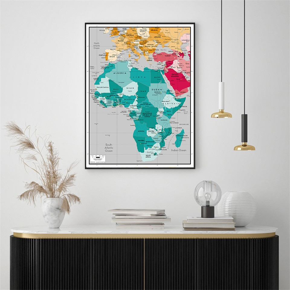 59*84 Cm The World Map In Spanish Wall Poster Eco-friendly Canvas Painting Living Room Home Decoration School Supplies