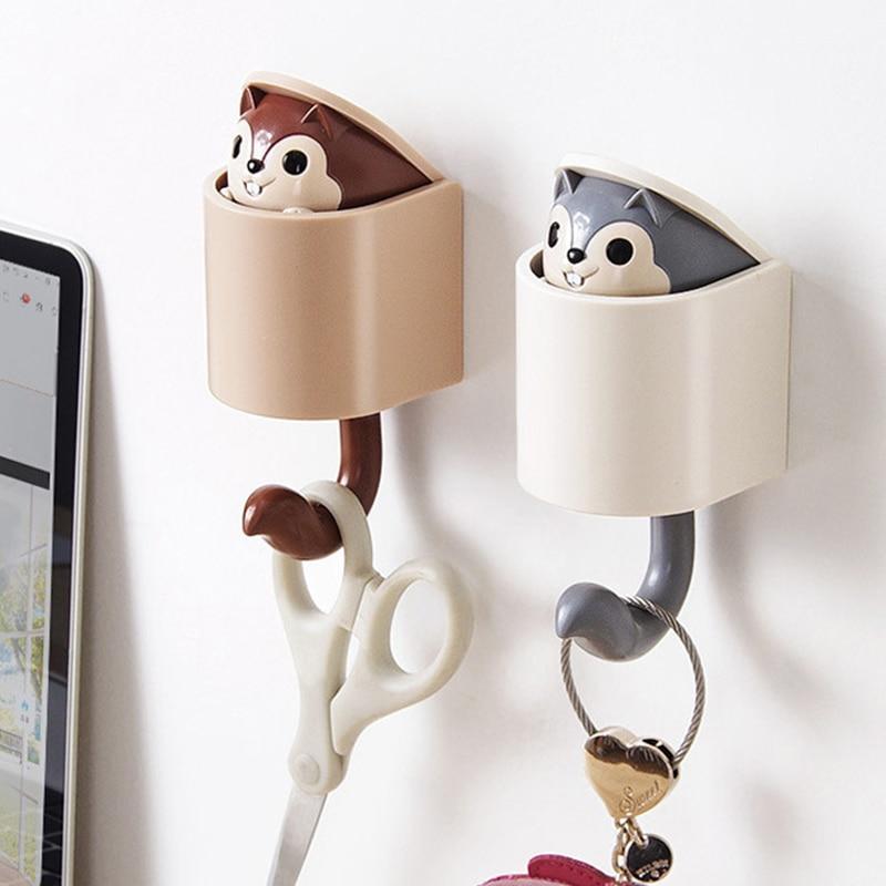 Invisible Squirrel Hook Umbrella Key Hangers Adhesive Mountable Wall Hook for Coat Hat Cellphone Decor Wall Door Organization