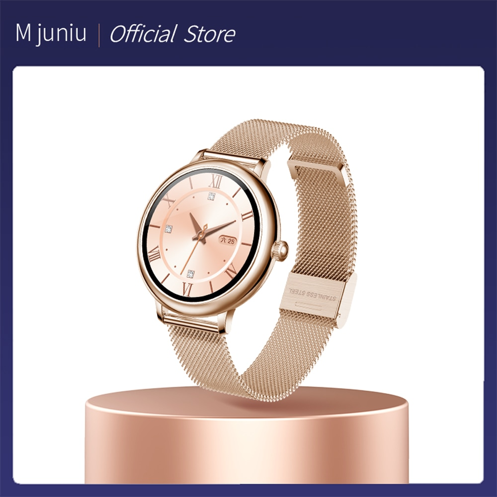 M جونيو أنيق المرأة ساعة ذكية فاخرة مقاوم للماء ساعة اليد الفولاذ المقاوم للصدأ الفتيات عادية Smartwatch ل أندرويد iOS شاومي