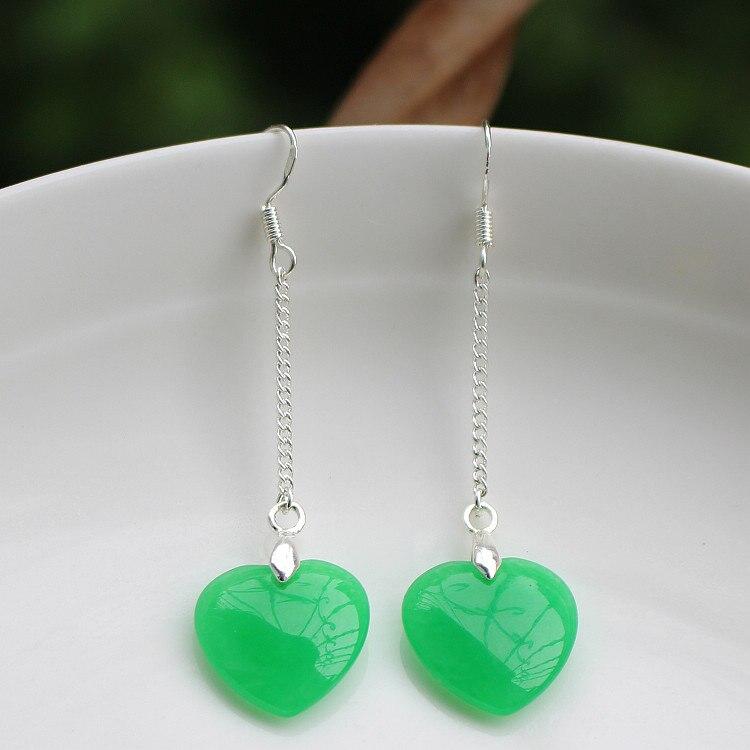 925 Plata Natural Jade VERDE Circular amor cuentas pendientes Original DIY a mano accesorios cuenta mujer joyería amuleto