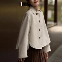 Women's Autumn Jacket Single-breasted Turndown Collar Sweet Retro Short Coat French Style Winter Clo