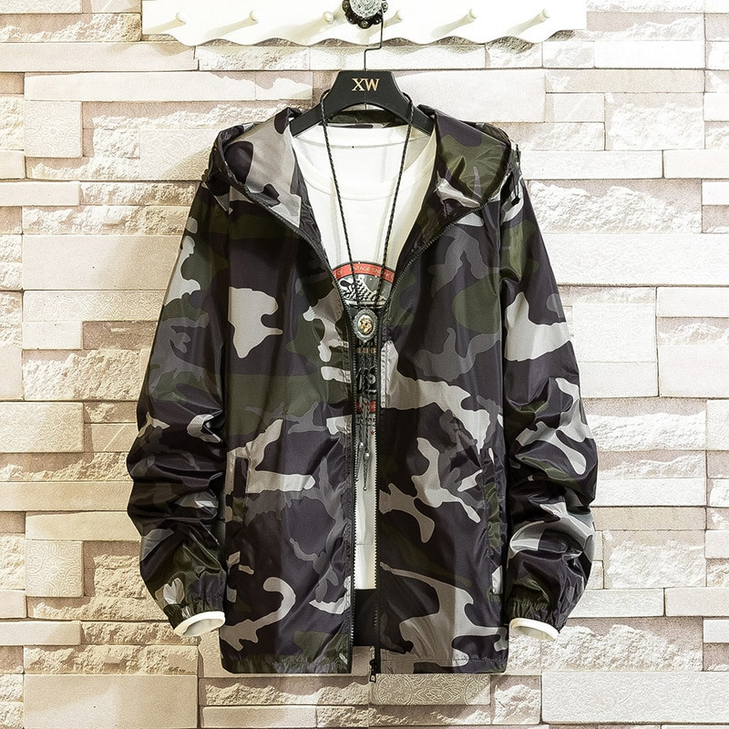 Spring Quality Mens Camouflage Male Coats fashion Camo Jacket Hip Brand Clothing Autumn Outwear Zipper Jackets Plus Size 3XL