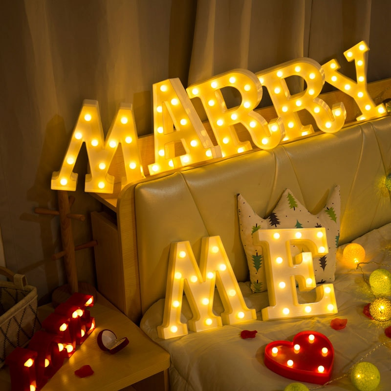 26 Luminous LED Letter English Alphabet Night Light Battery Plastic Lamp Romantic Wedding Birthday Propose Marriage Party Decors