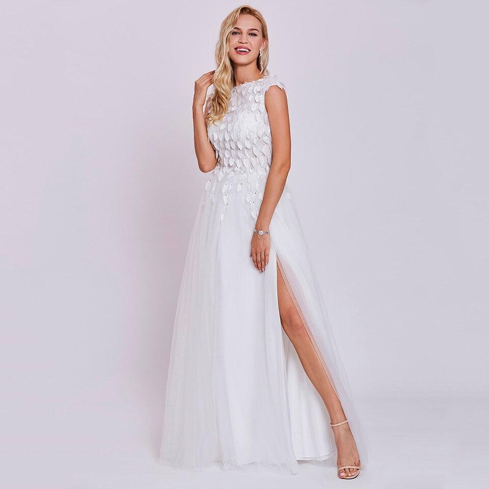 Dressv-فستان سهرة طويل عاجي ، بياقة دائرية ، بدون أكمام ، مطرز ، لحفلات الزفاف ، فساتين سهرة على شكل حرف a