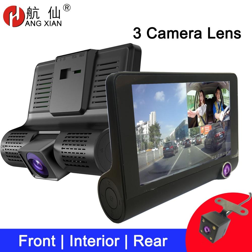 Видеорегистратор 4 дюйма, Автомобильный видеорегистратор с тремя объективами FHD, видеорегистратор с 170 широкоугольным видеорегистратором, ...