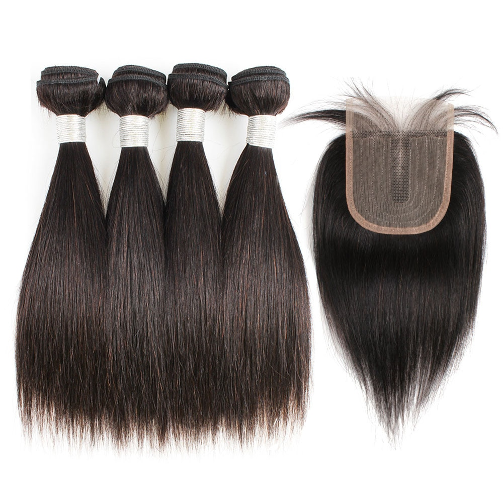 Bundles with Closure 4x1 Lace Closure Middle Part Black Color Indian Straight Remy Human Hair Short Bob Style BOBBI COLLECTION