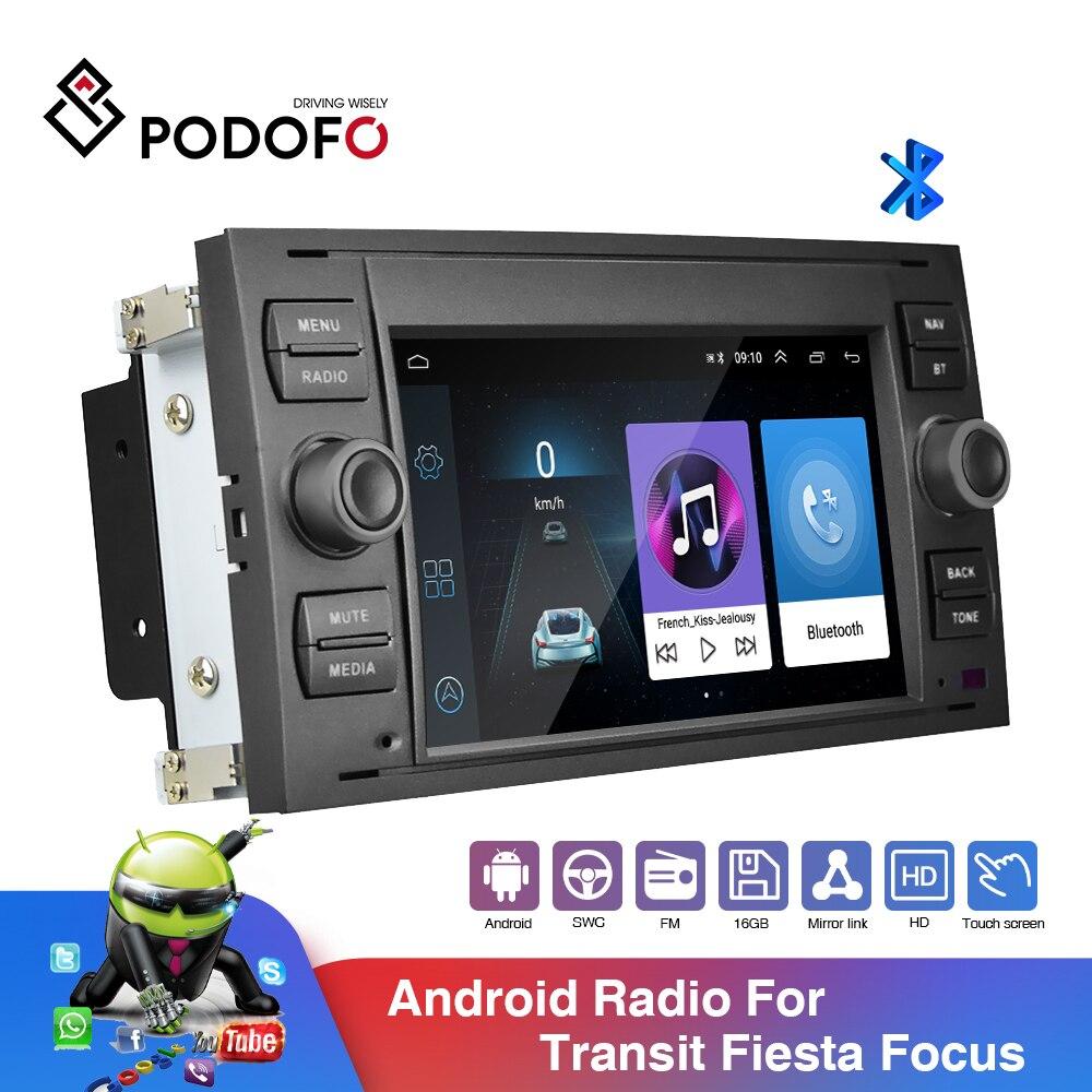 Podofo راديو السيارة الاندورويد 2Din مشغل وسائط متعددة 7 ''بوصة لتحديد المواقع ستيريو لفورد/فوكس/S-ماكس/مونديو كوجا 9/GalaxyC-ماكس سيارات الانصهار
