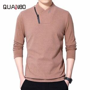 6 Colors Autumn New Arrival Tshirt Top Quality Double Velvet Men's Long Sleeve T-shirts Half Turtleneck Fashion Zipper Men Tops