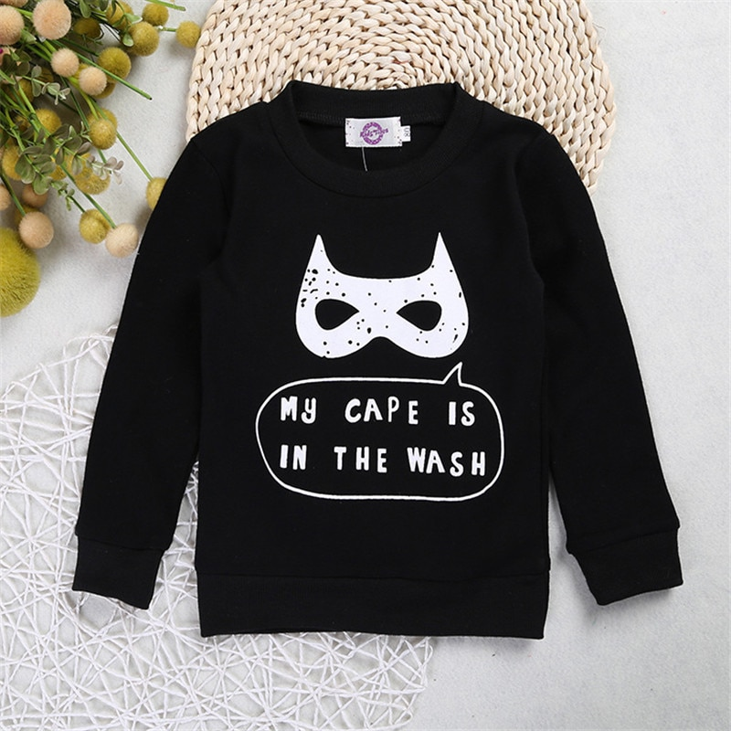 Spring Autumn Baby Kid Boys Infant Long Sleeve Batman Mask Pullover Tops T-shirt Sweatshirt Sweatshirts 1 2 3 4 Years Old Shirts