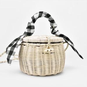 New Rattan Bag Handbag Lattice Silk Scarf Portable Straw Bag Cylinder Small Jar Beach Bag