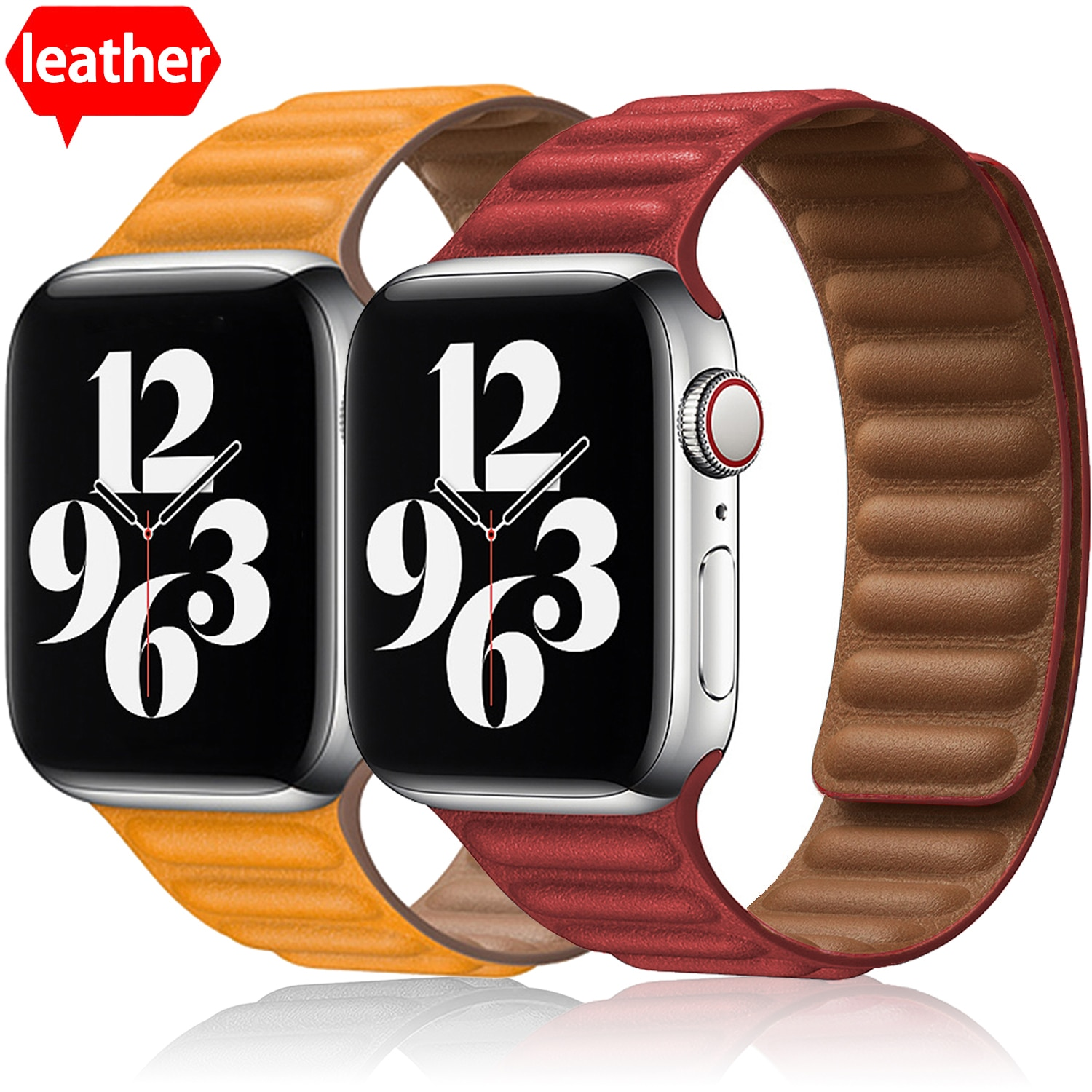 leather loop for apple watch band 44mm 40mm iwatch band 38mm 42mm magnetic watch bracelet for apple watch strap series 3 4 5 6 2 New Leather Link Watch Strap for Apple Watch Band  42mm 38mm 44mm 40mm Loop Bracelet for IWatch Series 6 5 4 3 Band Accessories