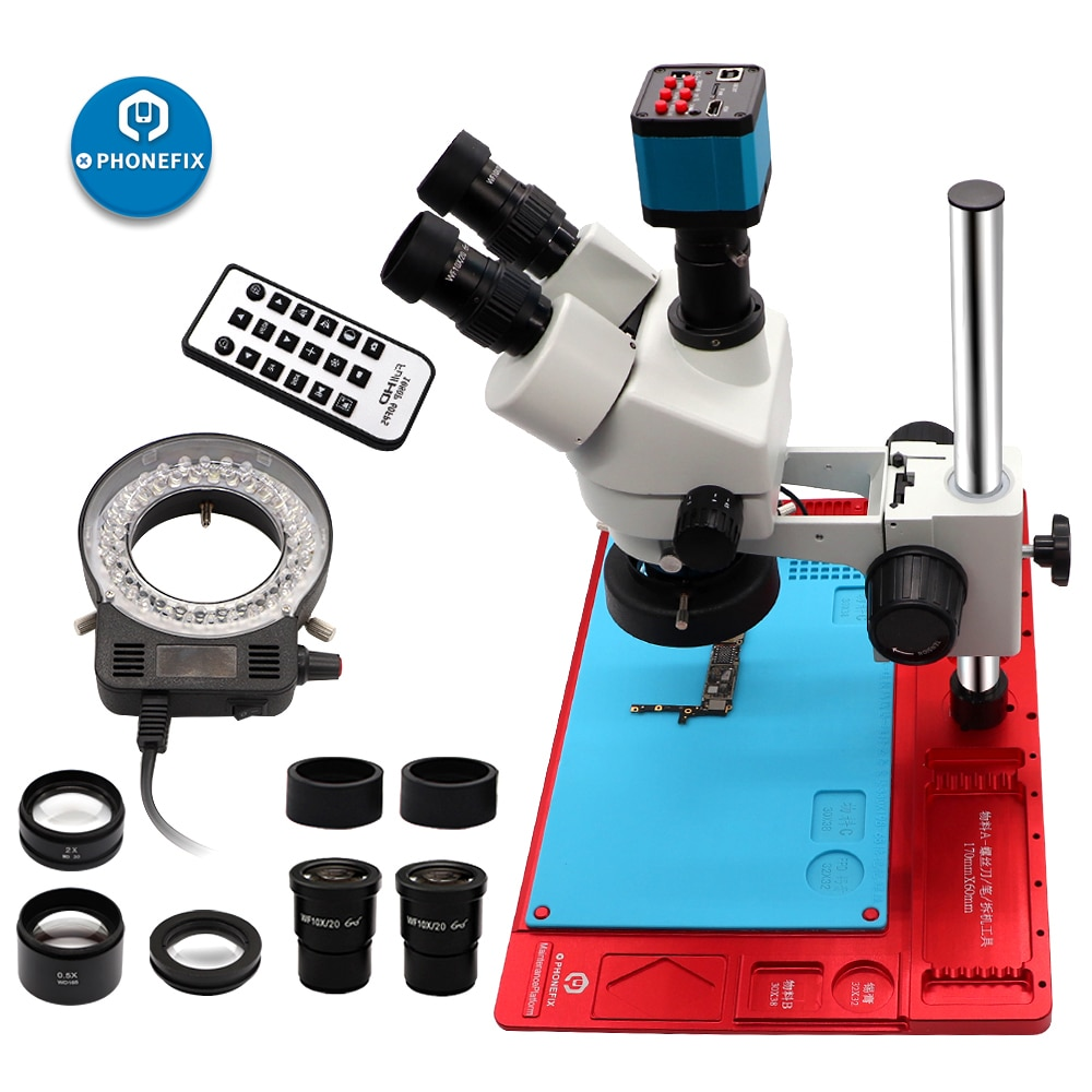 3.5x-90x microscópio trinocular zoom microscópio estéreo com almofada de liga de alumínio 21mp hdmi câmera pcb reparação microscópio de solda