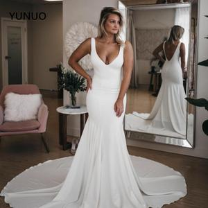 YUNUO Simple Wedding Dresses 2021 Mermaid Sleeveless White Ivory Backless Bridal Dress vestido de casamento Wedding Gowns