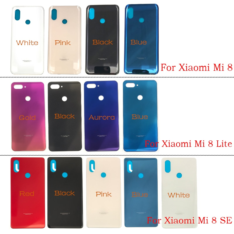 Replacement Glass Battery Back Cover Case Rear Glass Door Housing with Glue For Xiaomi Mi8 Mi 8 Lite