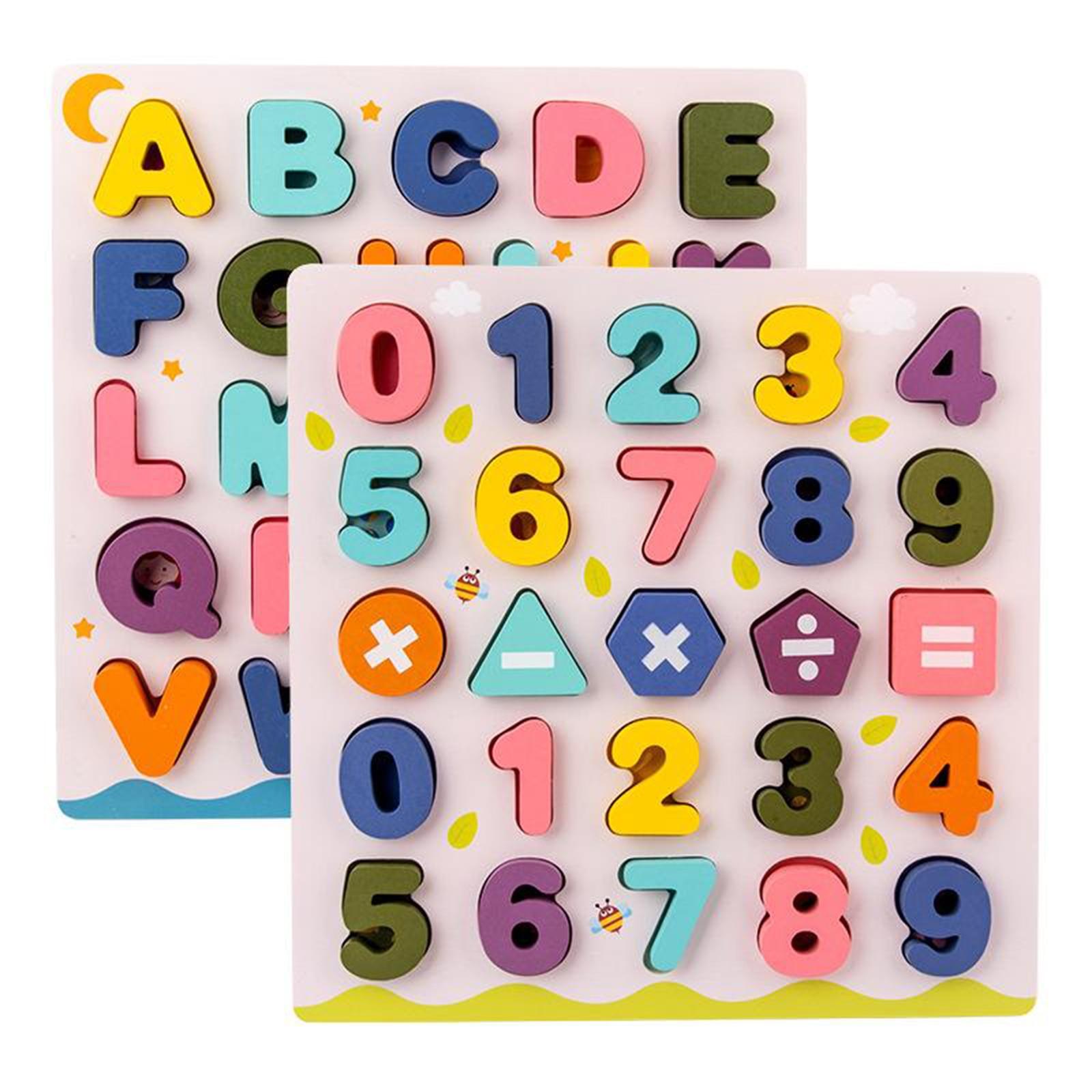 Деревянный алфавит, буквы, цифры обучающая игра головоломки игрушки для детей