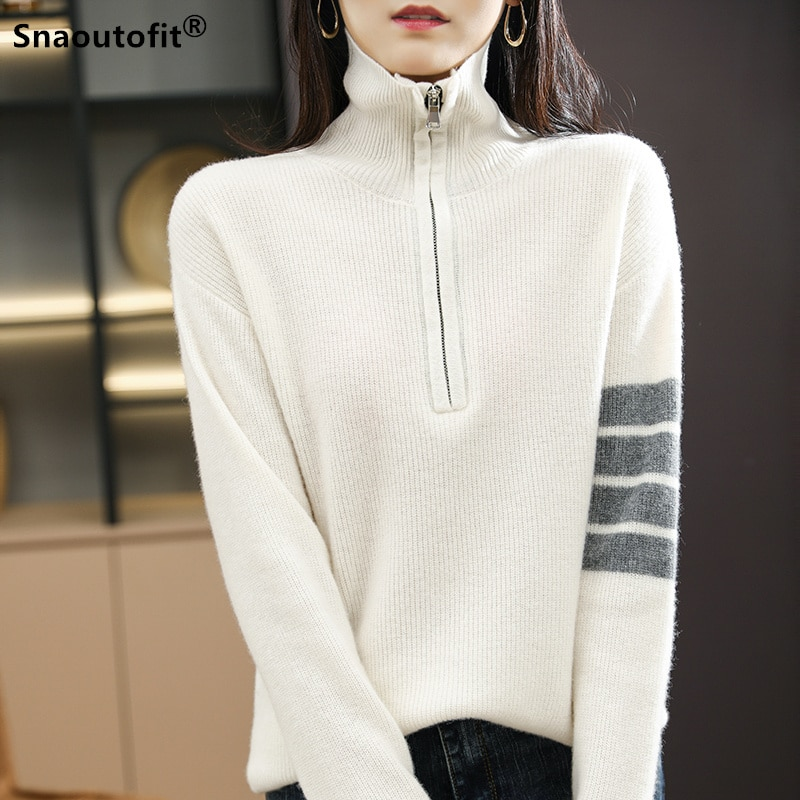Autumn And Winter New Style 100% Pure Wool Sweater Women High Neck Pullover Zipper Half-Open Sweater Loose Wild Knit Bottoming hdy haoduoyi 2018 new arrival beige knit half necked openwork loose pullover sweater autumn winter