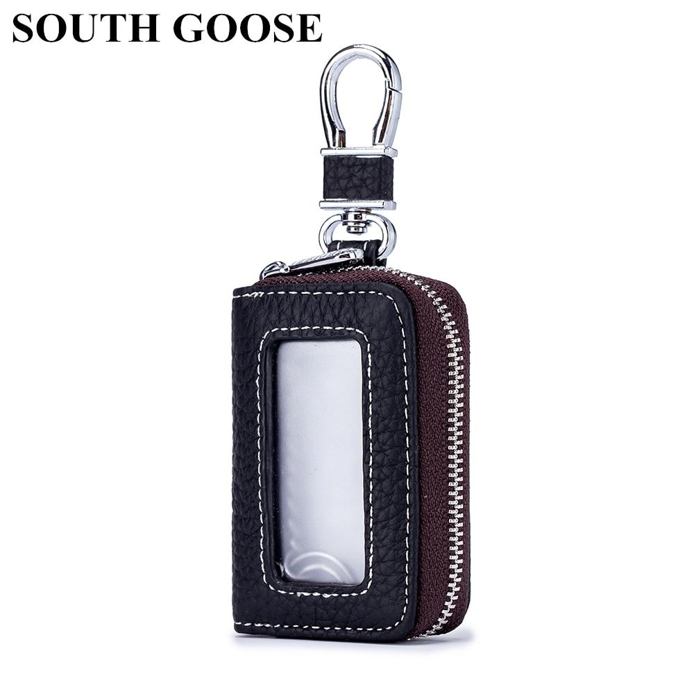 LLavero de cuero genuino de ganso del Sur llavero de hombre llavero Casual bolsa de la llave de las mujeres llavero cubre