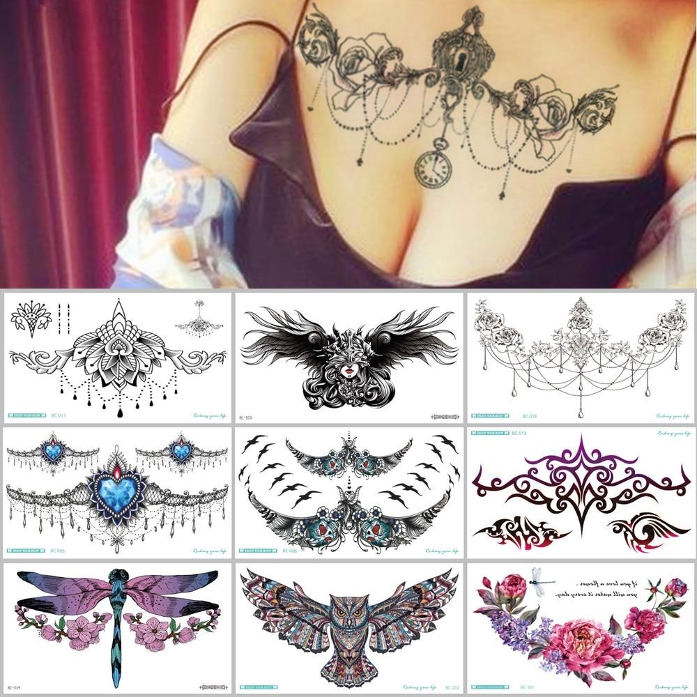 AliExpress - 38 Kinds Adult Chest Back Tattoo Big Size Sexy Flowers Mandala Totem Waterproof Temporary Body Art Sticker tatouage temporaire