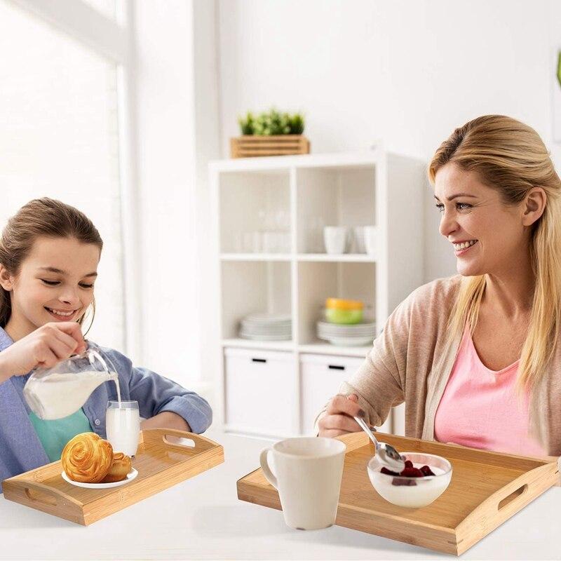 MLGB 2 Pack صينية تقديم من خشب البامبو مع مقابض منضدة للسرير المحمولة لتناول الإفطار عشاء تناول الصواني لمطاعم غرفة المعيشة