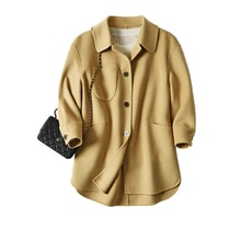 SHUCHAN vintage coat Wool Long Casual Spring/Autumn Pockets winter clothes women Single Breasted Tur