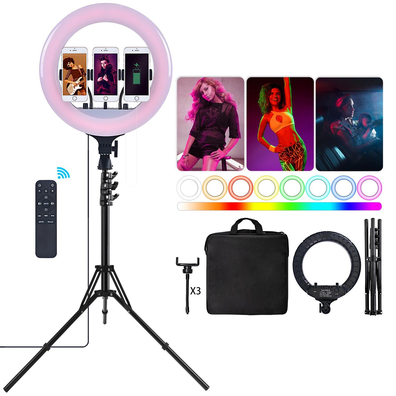 Fosoto 14 بوصة RGB التصوير الفوتوغرافي الإضاءة Led حلقة المهنية مصباح مع البعيد مصباح مصمم على شكل حلقة ترايبود للهاتف يوتيوب ستوديو