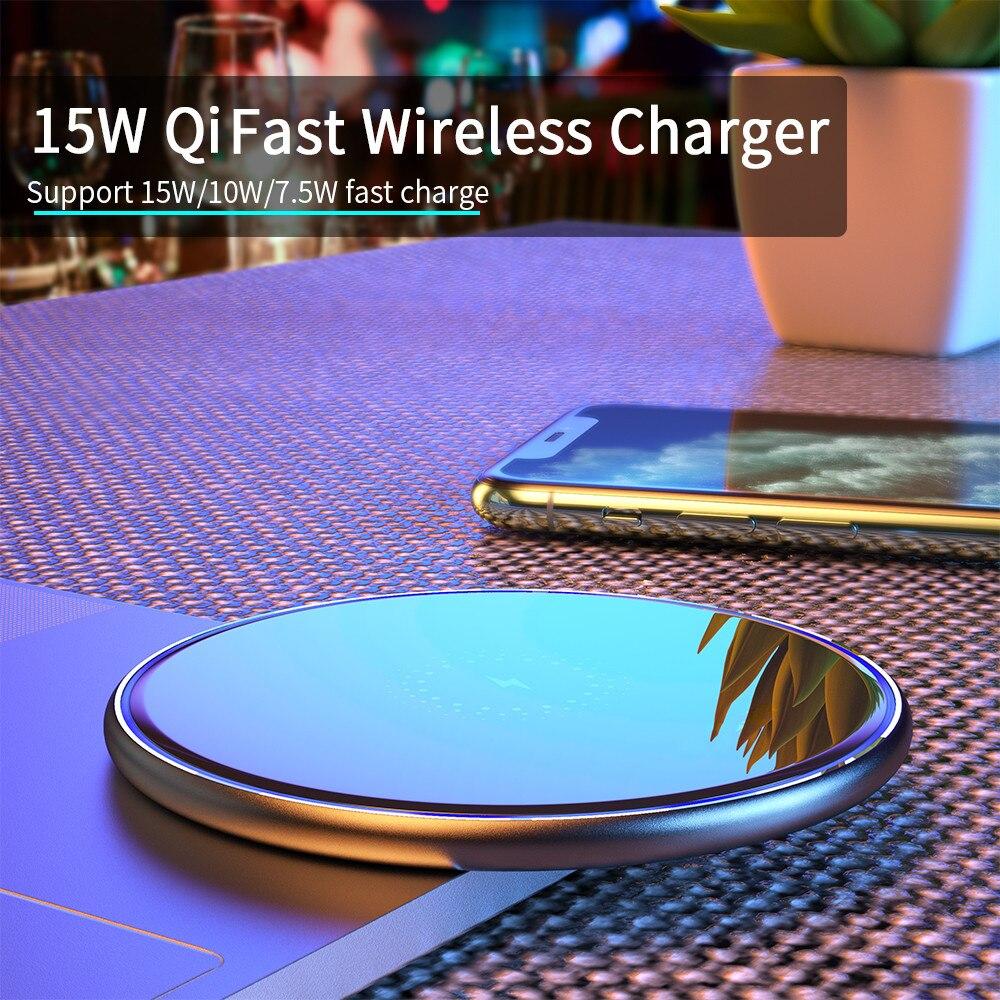 Cargador inalámbrico Qi para móvil de almohadilla de carga rápida de inducción...