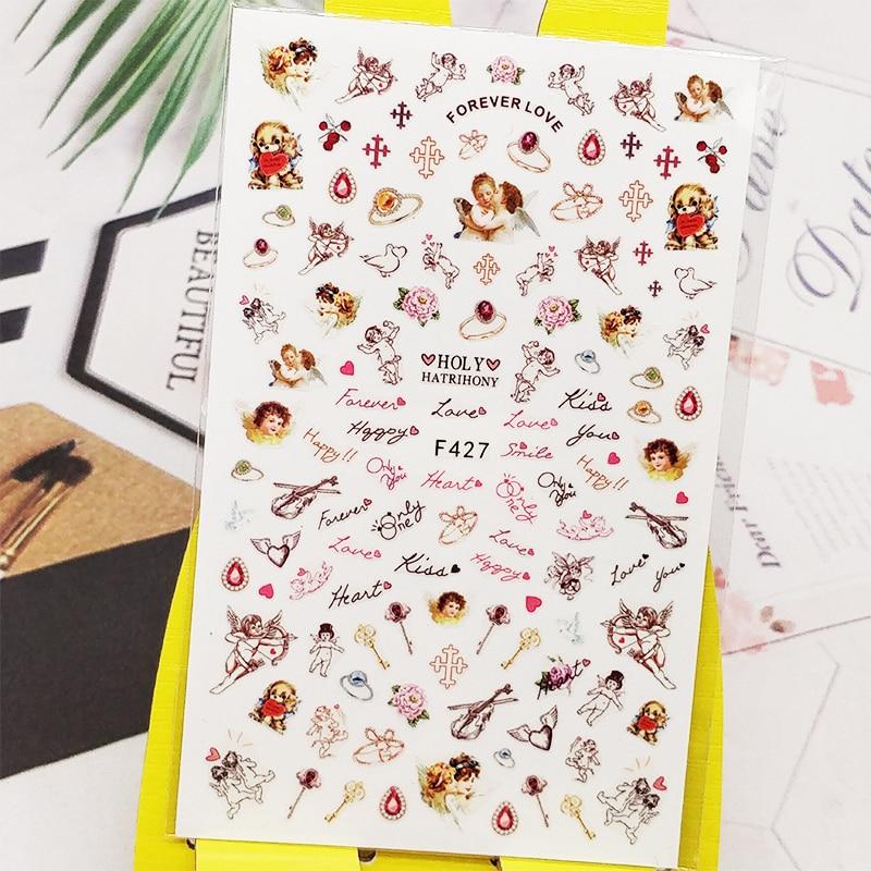 Pegatinas 3D para uñas, pegatinas con letras de flores, diseño personal, decoración de uñas, pegatinas deslizantes, accesorios de manicura, decoración de uñas