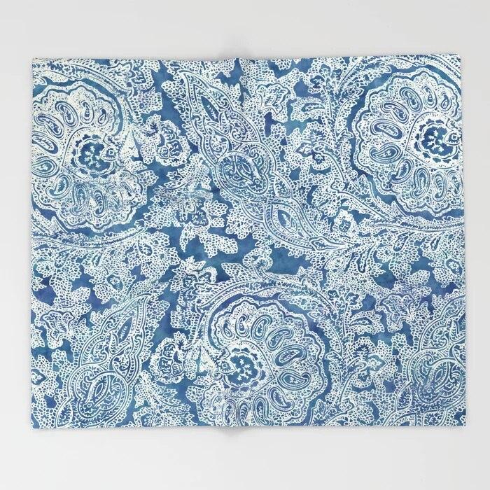 Manta de Sherpa Paisley diseño de arte azul Boho Paisley polar manta de felpa súper suave 150x200 mantas para camas