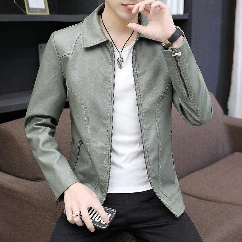 Мужская молодежная трендовая кожаная куртка на молнии с карманами, новый стиль, облегающая Мужская короткая куртка, красивая Мужская осенн...