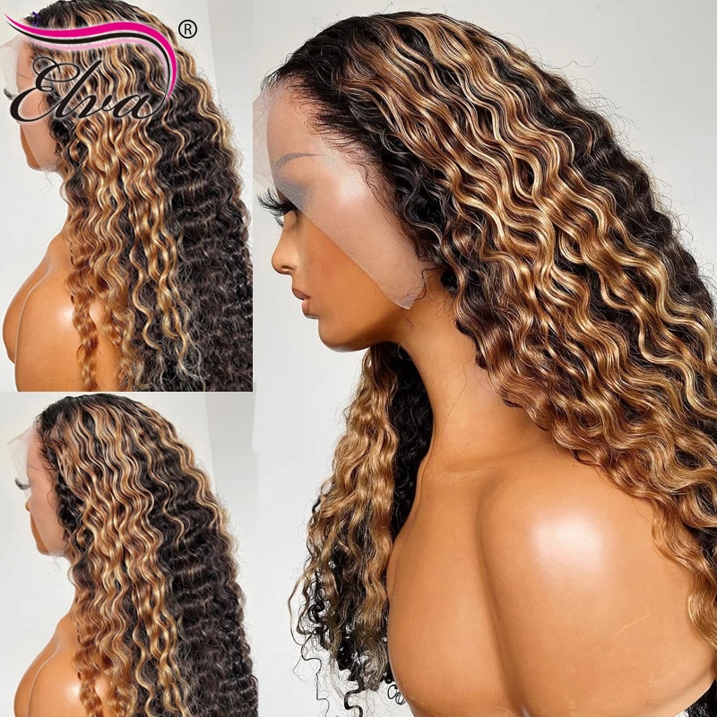Yonce Lace Front Human Hair Wigs For Women Transparent HD Lace Frontal Wig Brown Color Ombre Curly Lace Front Wig Elva Remy Hair