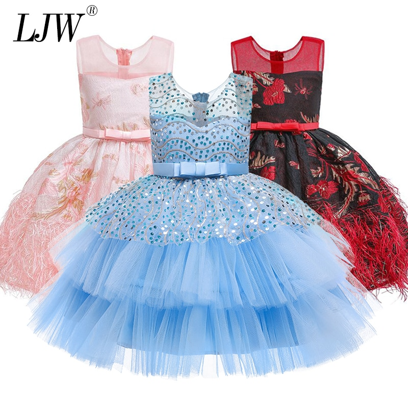 Baby Girl Sequin cake Princess evening dress for Wedding party Kids Dresses for Toddler Girl Children Clothing