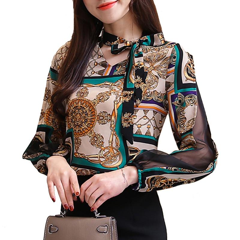 Camisa de gasa estampada, blusa de moda para mujer, blusa informal de manga larga para Primavera, camiseta de talla grande