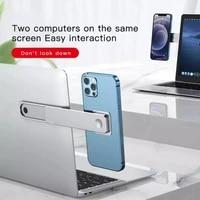 creative folding phone bracket 2 in 1 aluminum alloy telescopic magnetic smartphone mount holder for huawei apple laptops