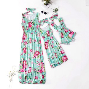 Floarl Flower Print Family Swimsuit Family Matching Clothes Silk Sleeveless Mother And Daughter Clothes For Mom Kids Baby QT1976
