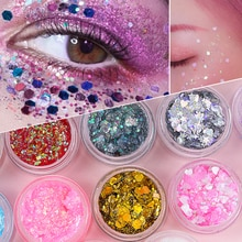 Holographic Eyeshadow Sequins Gel Shimmer Glitter Decoration Multifunctional Hair&Lips Makeup Facial