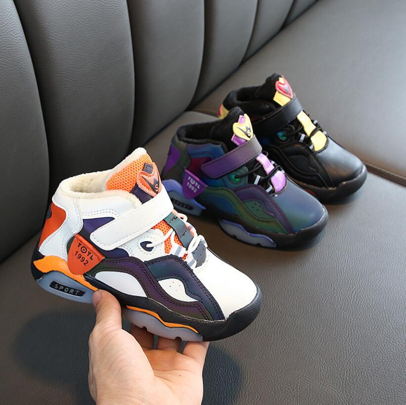 Otoño niños Deporte Zapatos Niño baloncesto zapatos cuero moda correr Niño Zapatos Niños botines para exterior peluche zapatilla cálida