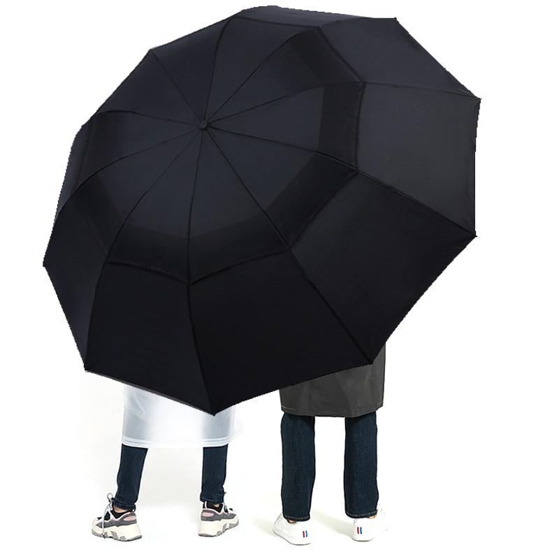 Large Folding Women Umbrella Rain Men Double layer Big Travel Umbrella Waterproof Male Parasol for 3