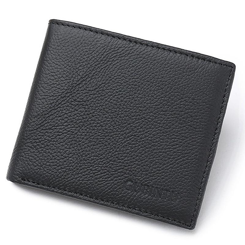 2020 nuevas carteras de cuero genuino RFID para hombres, portatarjetas, carteras cortas de alta calidad, carteras de marca de diseño Simple y sólidas para hombres