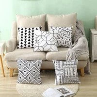 2021 new arrival black white geometric abstract pillow cover modern simple car pillow sofa square home wave cushion decorative