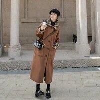 autumn winter women splice plaid loose long wool coat single breasted korean elegant woolen trench jacket overcoat