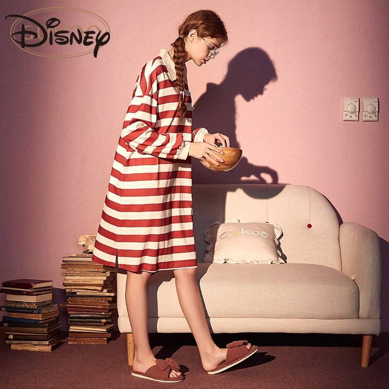 Disney Pajamas Women's Spring and Autumn Women's Nightdress Striped Pajamas Cartoon Outerwear Homewear Women's skirts