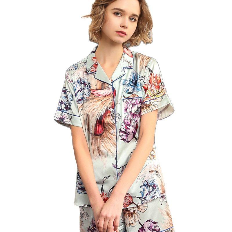 الحرير الحقيقي بيجامة مجموعات الإناث قصيرة الأكمام الصيف المطبوعة دودة القز الحرير امرأة ملابس خاصة قطعتين T8188
