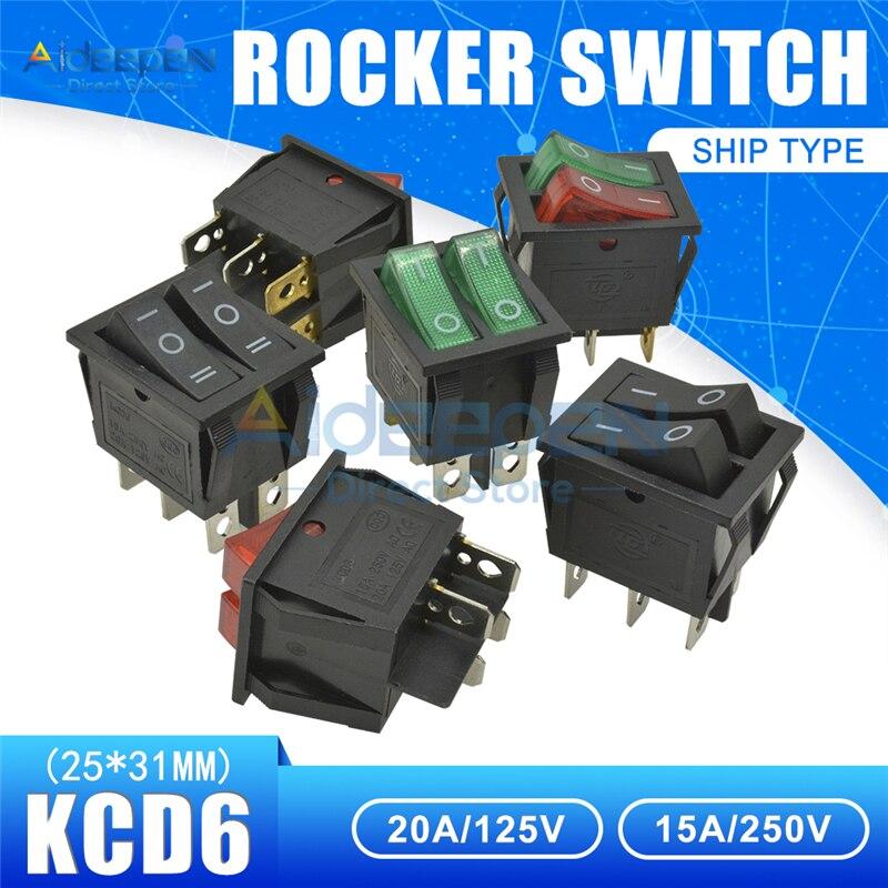Interruptor basculante KCD6 AC 20A/125V 15A/250V interruptor de luz doble 25x31mm ON-OFF 2/3 posición 4/6 pines interruptor de botón de barco