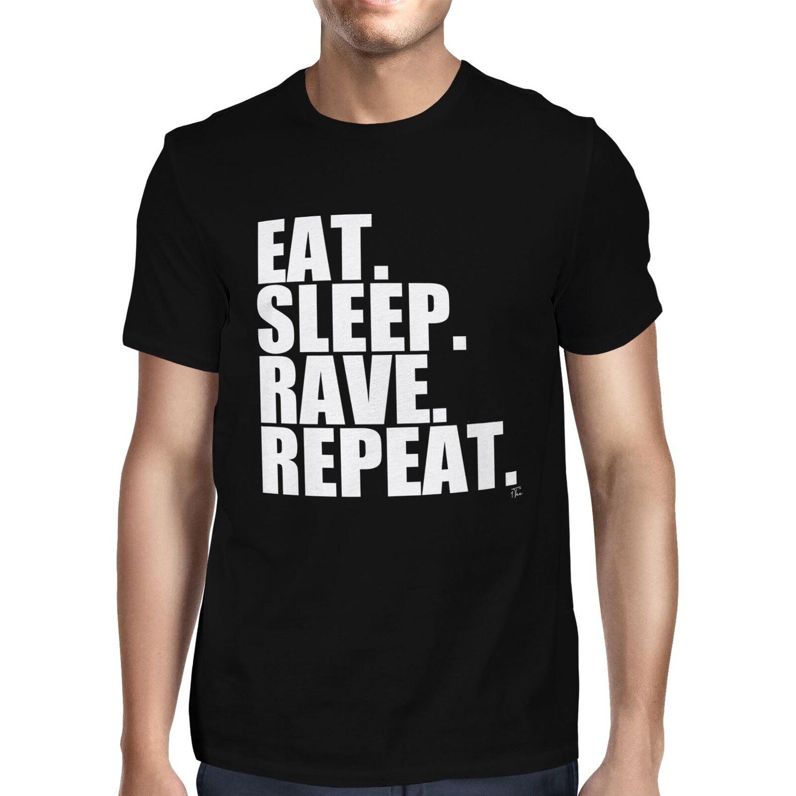 1t homens comer sono rave repetir t camisa