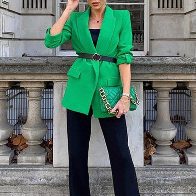 Women Blazer Solid Fashion Suit jacket Temperament Suit 2021 Long Sleeve Slim Elegant Black Green Jacket Female Commuter Wear fashion black trailblazer blazer new double breasted temperament commuter suit jacket women short casual long sleeve tops women