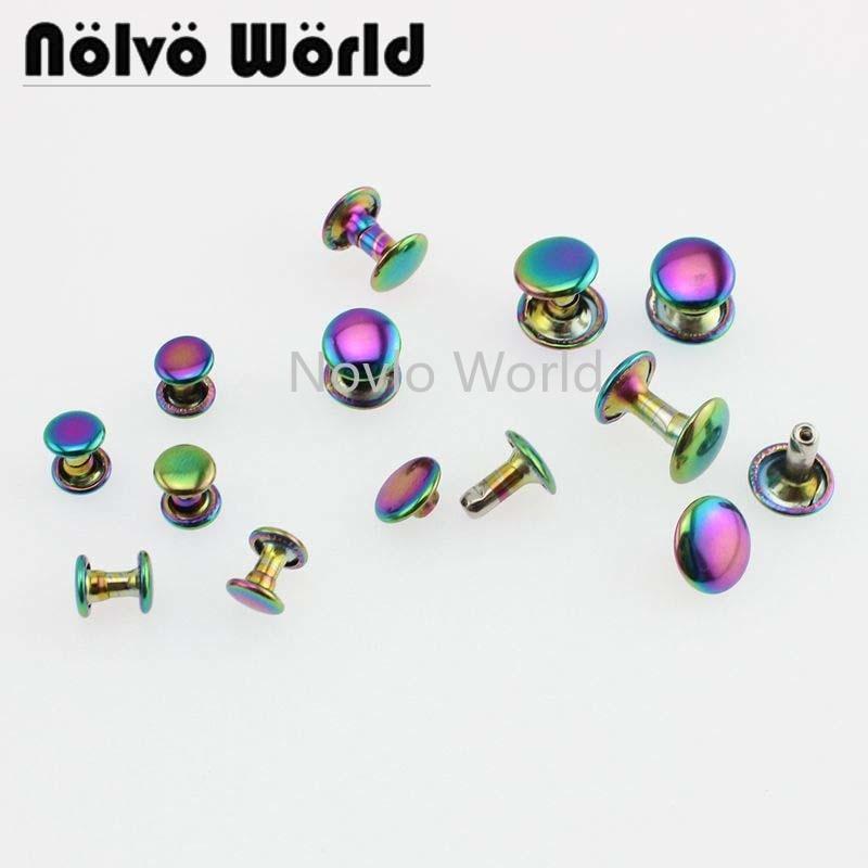 10 pièces test,6mm, 8mm,10mm, arc-en-ciel métal double face ongles décoratifs goujons sac à main rivet vis sacs matériel clou