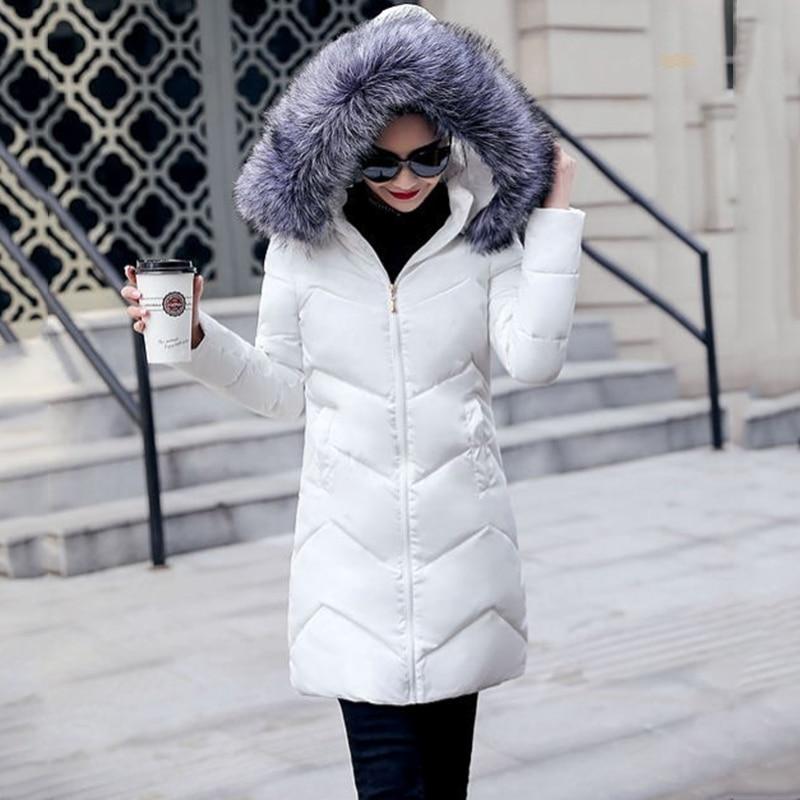 معطف شتوي بياقة فراء للسيدات معطف سميك دافئ مع قلنسوة طويل أنيق للسيدات من القطن الأبيض سترة نسائية خارجية جديدة لعام 2019 DR653