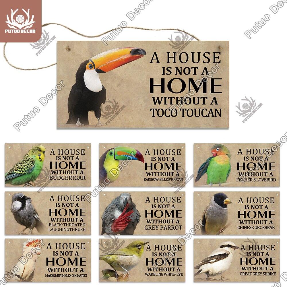 Putuo, decoración, signo de pájaros, placa colgante de madera, signos de animales, amistad encantadora, colgante de madera para jaula, hogar, decoración de pared