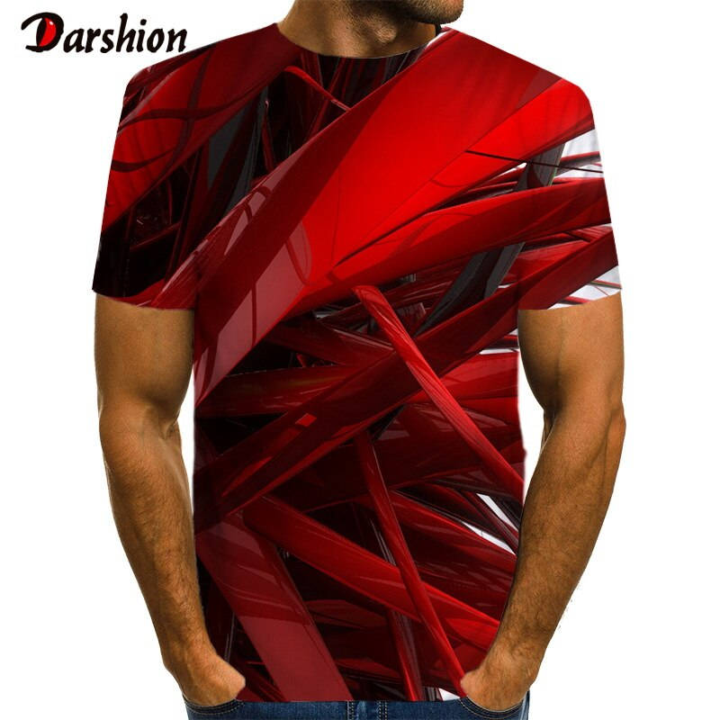 Camiseta 3D con rayas geométricas diseño rojo estampado para hombres Camiseta negra Casual Camiseta de Anime Camiseta Streatwear manga corta tamaño 6xl
